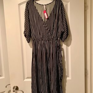 Black and White Stripe Jumpsuit with Belt